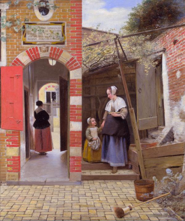 DE HOOCH Courtyard of a House in Delft 1658